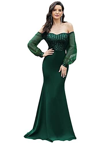 Ever-Pretty Fuera del Hombro Vestido de Novia Sirena Manga Larga Invierno Tul para Mujer 00711