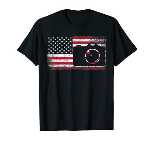 Cámara Fotógrafo 4 de julio Bandera Americana Patriótica USA Camiseta