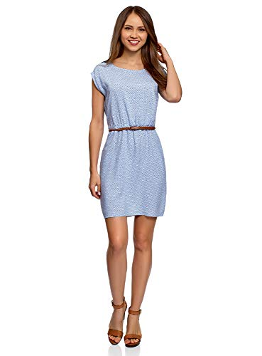 oodji Ultra Damen Viskose-Kleid mit Gürtel, Blau, DE 38 / EU 40 / M