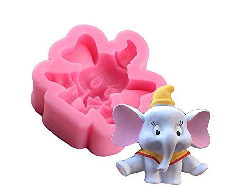 ZIYING Cake mold Mujiang 3D Cute Elephant Candle Mold Fondant Cake Decorating Tools Chocolate Candy Molds Cupcake Baking Silicone Mould