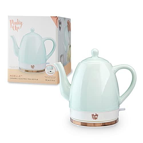 Pinky Up Noelle 1.5 L Ceramic Electric Tea Kettle, Mint, Rose Gold, Gooseneck Spout, Cordless Design