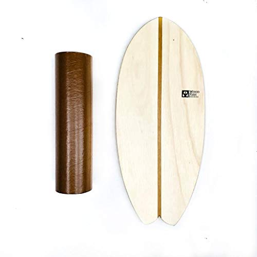 Wood Fish Boards Balance Board - Balanceboard aus Holz handgemacht in Brasilien - Set inkl. Rolle (Farbe: Sand) Indoor Surfboard Trickboard Skateboard Gleichgewichtstraining
