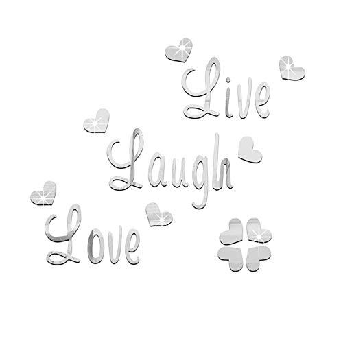 Janly Clearance Sale Live Laugh Love Cita Extraíble Pegatinas Arte de Pared Pegatinas Espejo Decoración de Habitación B Decoración del Hogar para el Día de Pascua (Plata)