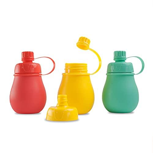 CECOA - GOURDES A COMPOTES REUTILISABLES X3 / Sans BPA ni Bisphénol A/Lot de 3 gourdes de 180ML en silicone pour compote de fruit et purée maison/Idéal pour les bébés et les enfants