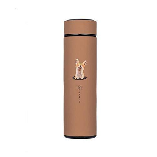 CGS2 Bouteilles thermos à double paroi en acier inoxydable 480 ml Tasse portable Café Thé Lait Voyage Bouteille d'eau avec filtre à thé Accessoires de cuisine, Acier inoxydable, Brown 480ML