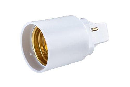 G24-D 2-Pin Adapter auf E27 Schraubgewinde für LED Leuchtmittel Converter - Gesamtlänge: 64mm, G24-Sockellänge: 22mm, Schaftlänge: 42mm, Durchmesser: 37mm