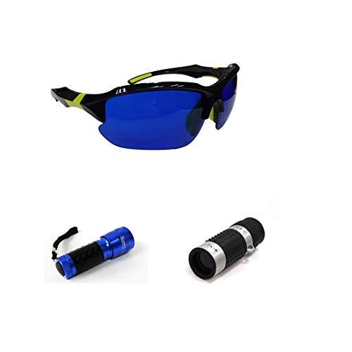 POSMA SGG-050D Golfball-Finder-Brille, Set mit Golfball-Finder, Taschenlampe, UV-Taschenlampe und Golf-Entfernungsmesser, High Definition, Mini-Monokular-Taschenfernrohr-Aufbewahrungstasche
