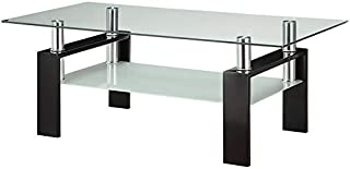 BOWERY HILL Glass Top Contemporary Coffee Table in Black