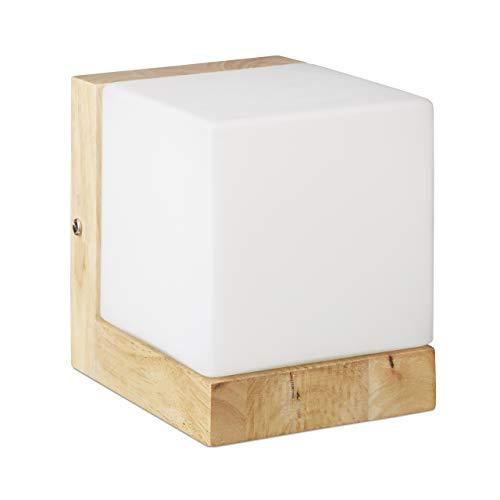 Relaxdays Wandleuchte Würfel, Würfellampe f. warmes Licht, E27, Milchglas, Holz,1-flammig, HBT: 15x12x15 cm, weiß/natur
