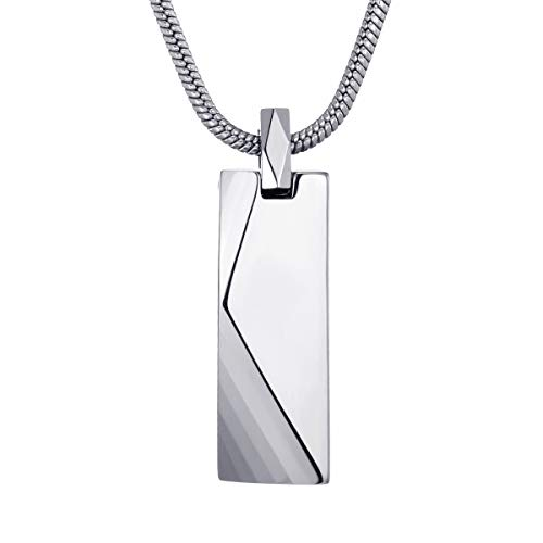 MOO&LEE Men's Tungsten Carbide Bar Pendant Necklace with 22 Inches Stainless Steel Snake Chain