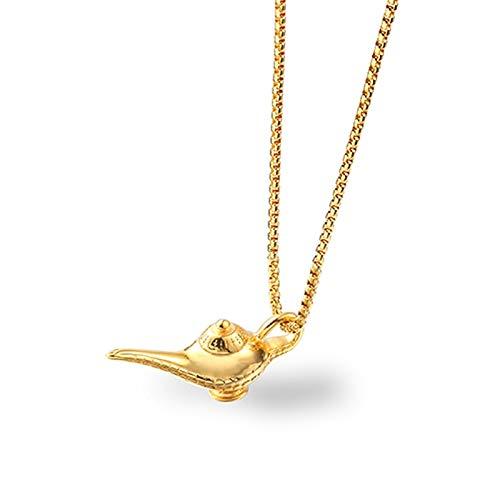 Aladdin Lampe Anhänger Halskette Genie Lampe Flasche Silber Zinn Gold Edelstahl Charm Halskette Anhänger Magischen Schmuck