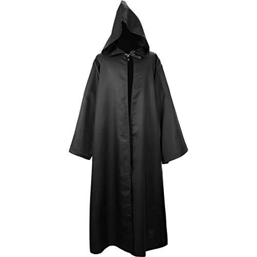 Jacke Herren Lange Mit Kapuze Einfarbig Jacke Halloween Robe Umhang Ritter Fancy Cosplay Kostüm Lässig Klassisch Jacke Komfortabel Oversize Jacke ☆ZZ-Black L