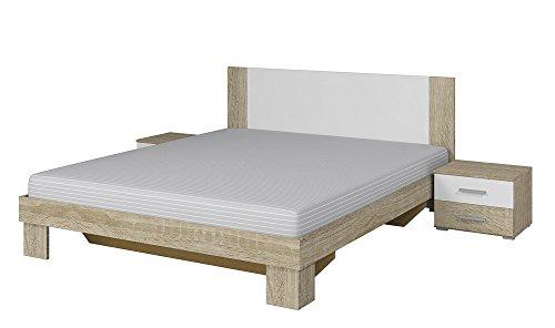 Furniture24 Doppelbett Vera 51 mit Zwei Nachttische, Bettgestelle, Bettrehmen, Elegante Bett für Schlafzimmer, Schlafmöbel (160 x 200, Sonoma Eiche/Weiß)