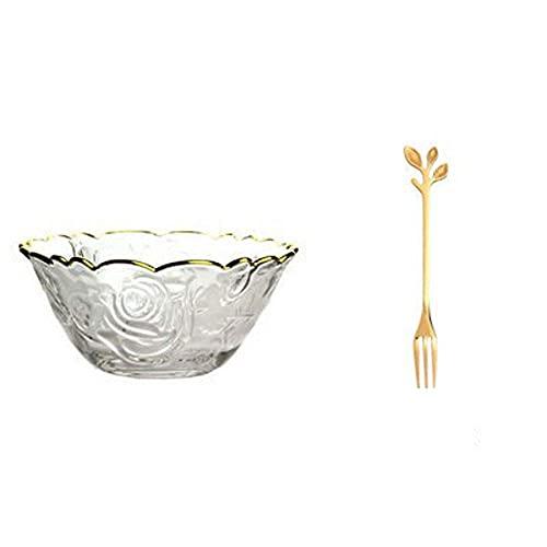Cuencos WAN Bowls Postre Bowl, Phnom Penh Glass Bowl, Plato de Plato de Cristal Redondo de Cristal (Color: 2) (Color : 2, Size : -)