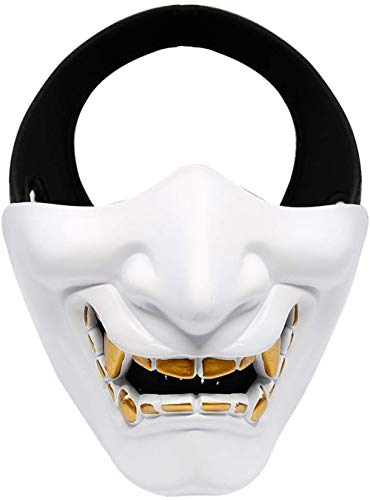 Outdoor Base Samurai Mask, Japanese Demon Kabuki Hannya Evil Oni Half Lower Face Protective Masks for Tactical Airsoft Paintball Halloween Cosplay White