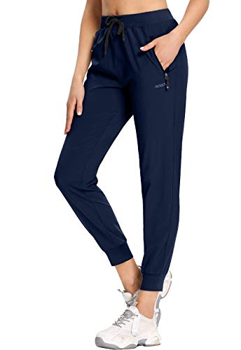 MOCOLY Women's Hiking Cargo Pants Elastic Waist Quick Dry Lightweight Water Resistant Travel Long Sweatpants UPF SPF 50+ Navy XL