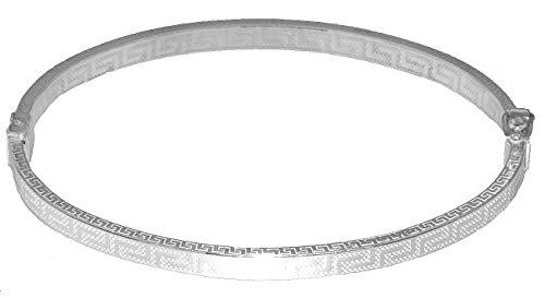 Armreif Silber 925 oval Armspange Mäander Muster Armband Damen echt Schmuck Hobra-Gold