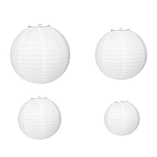 ZENING 1 farol de papel redondo blanco con alambre acanalado, pantallas blancas, pantallas de papel para bodas, fiestas, patios y habitaciones de 20 cm
