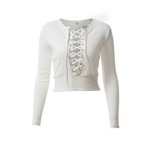 NiSeng Donna V-Neck Crop Top t shirt Manica Lunga da Croce Bandage Profondo V Sweatshirt Top Autunno Bianca S