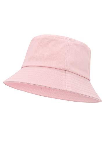 Century Star Sombrero de cubo para hombre, pesca de verano, playa, sol, gorras de algodón para mujeres, viajes al aire libre, sombreros plegables - rosa - Talla única
