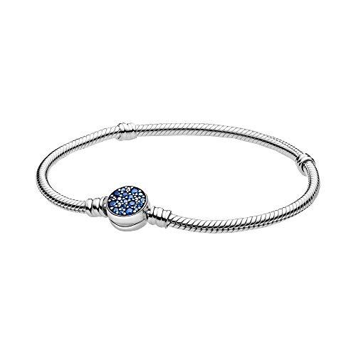 Pandora Moments - Pulsera de eslabones de serpiente con cierre de disco azul brillante de plata de ley, tamaño: 19 cm