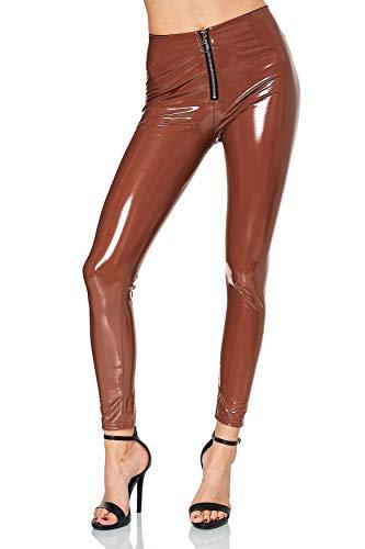 EGOMAXX Damen Vinyl Hose Wet-Look Lederhose Lederoptik Coated Skinny Bikerlook Leggings, Farben:Dunkelbraun, Größe:L-XL
