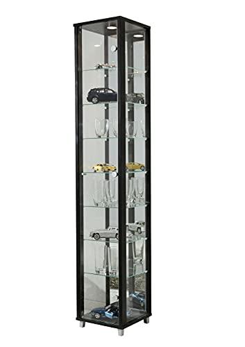 BR-Wohndesign Glasvitrine Sammlervitrine Vitrine Standvitrine mit LED und 7 Glasböden höhenverstellbar ESG Glas in Schwarz Dekor 172x32x33 cm