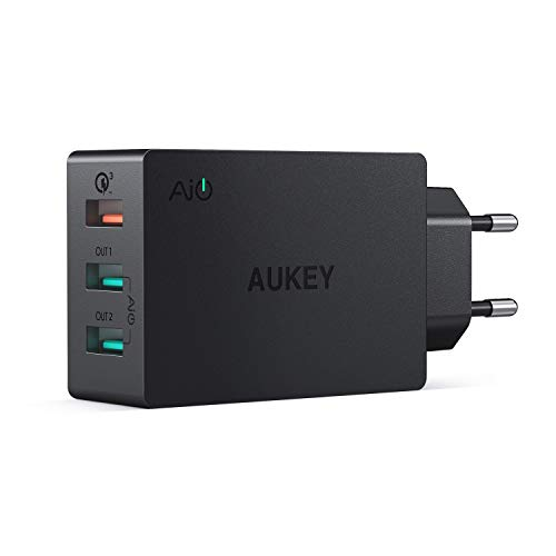 AUKEY Quick Charge 3.0 Cargador Móvil 3 Puertos 43,5W Cargador de Pared  para Samsung Galaxy S9/ S8 / Note 8, LG, HTC, iPhone XS / XS Max / XR, iPad Pro / Air, Moto G4 y más