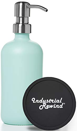 Teal Glass Soap Dispenser with Stainless Metal Pump and Non Slip Coaster / Countertop Protector- Seafoam or Teal Green 16oz Glass Jar Lotion Bottle by Industrial Rewind (Seafoam/Stainless)