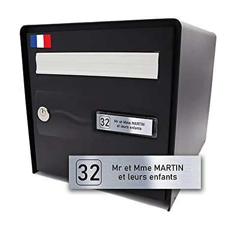 Plaque de Boîte aux Lettres Personnalisable Adhésive avec Numéro - Format Standard 100 x 25 mm - Fabriquée en France - 2 Lignes - Acier Brossé (Texte Noir)