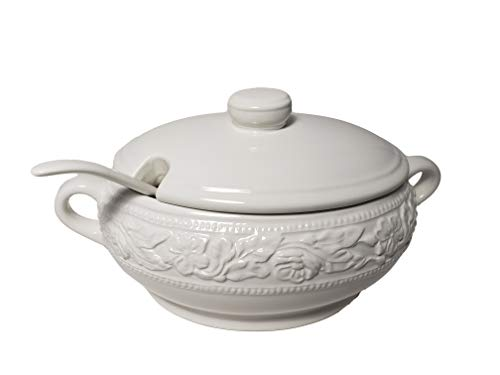Regent Dolomite Soup Tureen with Ladle, White