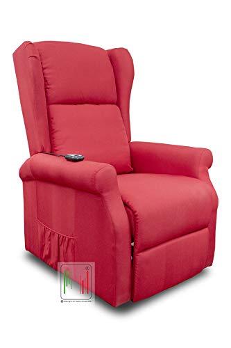 Stil Sedie - Poltrona Relax reclinabile elettrica alzapersona Bergere in Tessuto MOD Giada (Rosso)