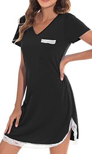 UMIPUBO Camisón de algodón para Mujer Manga Corta Camisón con Estampado Lindo Ropa de Dormir Suave con Bolsillo Ropa de Dormir de Verano Pijamas