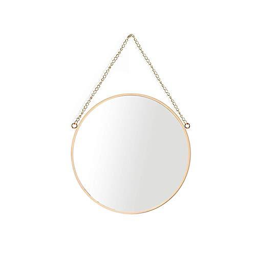 Espejo colgante, marco de latón para espejo de maquillaje redondo para baño de 25 x 25 cm con cadena para colgar [tamaño pequeño]