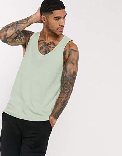 エイソス タンクトップ ノースリーブ アームホール メンズ ASOS DESIGN organic vest in green [並行輸入品]