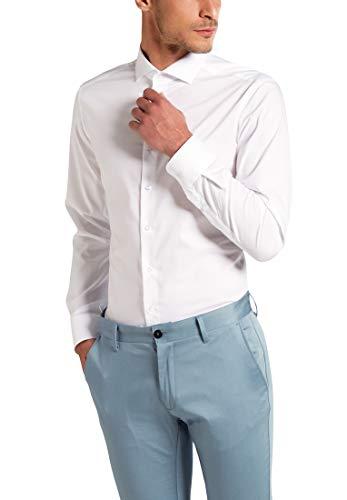 ETERNA Hemd SLIM FIT Stretch unifarben, Weiß, Gr.- W43 Langarm