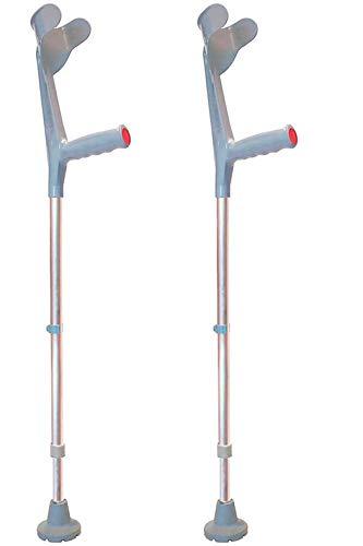 KMINA - Muletas adulto regulables aluminio, Muletas ortopédicas, Muletas ergonomicas, Muleta COMFORT Pack de 2 unidades color gris ✅