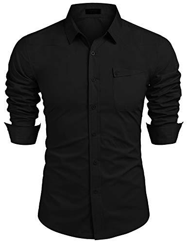 COOFANDY Hemd Herren Langarm Baumwolle Regular Freizeithemd knöpfe Business Hemd Schwarz M