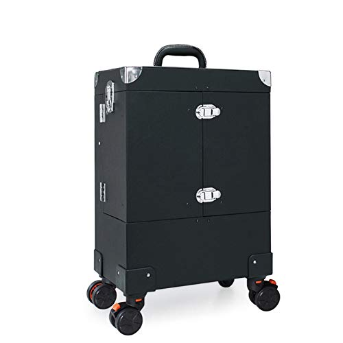 DYS@ Nagel-Make-up-Trolley, große Kapazität Kosmetikbox Koffer Gepäckrollen, mehrschichtiger Beauty Salon Tattoo Trolley-Koffer,Black