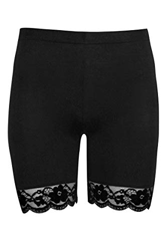 Women Plus Size Lace Insert Stretch Short Leggings Gym Tights Viscose Active Shorts Cycling Hot Pants (2XL, Black)