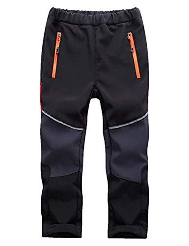 FAIRYRAIN Niño Deporte al Aire Libre Fleece Lined Winter Soft Shell Elasticated Waist Pantalones de Montaña Impermeables Transpirable Pantalones Senderismo Niña Pantalones con Cremallera Bolsillos