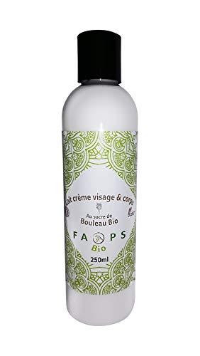 Lait-Crème Visage Corps Hydratant Bouleau Bio-Thé Vert Bio.Produit Végan Français 100% Naturel,Végétal sans Sulfates,Silicones,Parabens, EDTA,Colorants,OGM,huiles minérales,huile de palme.250ML