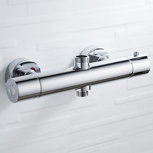 Solepearl Mezclador de barra de ducha termostática redonda de cromo con válvula de desviador de latón de salida superior de 3/4' BSP (25 mm) inferior de 1/2' BSP (21 mm)