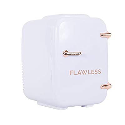 Finishing Touch Flawless Beauty Mini Fridge for Makeup and Skincare with heat and cool settings, White, 4 Liter