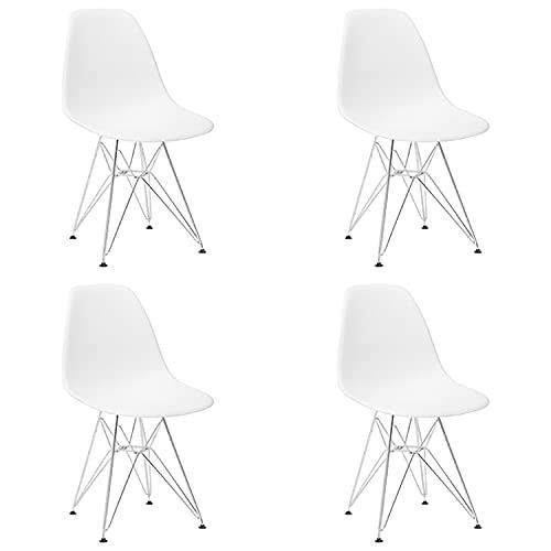 Juego de 4 sillas de comedor, sillas de oficina de ocio modernas de ABS, silla de sala de estar premontada con respaldo y patas de metal cromado para cocina, dormitorio, restaurante, salón,Blanco