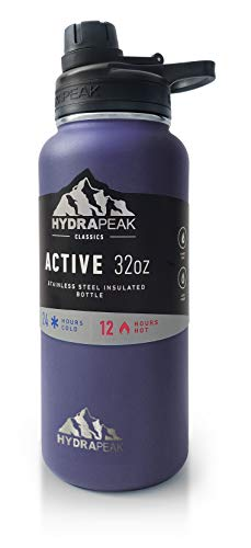 Hydrapeak BPA-Free Water Bottle, 32 oz. Vacuum Insulated Stainless Steel Thermos, Wide Mouth and Leak-Proof Sport Spout Chug Lid Cap - Plum