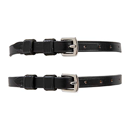 Huntley Equestrian Premium English Leather Spur Straps (Black, 15' Inches Long)