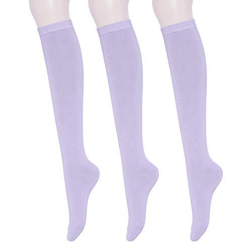 KONY Women's Cotton Knee High Socks - Casual Solid & Triple Stripe Colors Fashion Socks 3 Pairs (Women's Shoe Size 5-9) (Lavender - 3 Pairs)
