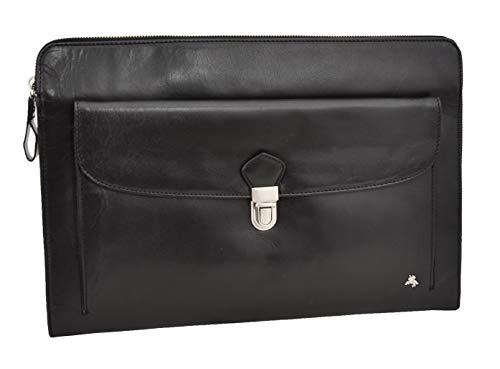 Leather Portfolio Case Underarm A4 Documents Files Carry Folio Bag Harvard Black