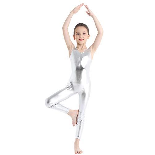 inlzdz Kinder Mädchen ärmellos glänzend Metallic Gymnastik Ballett Tanz Tank Gymnastikanzug Einteiler Catsuit Kostüme 5-6 Jahre silber